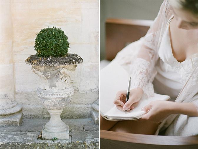 Closeup of bride writing into her vow book