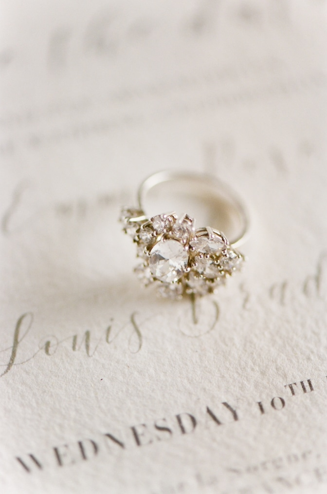 Closeup of a luxury designer engagement ring by Susie Saltzman