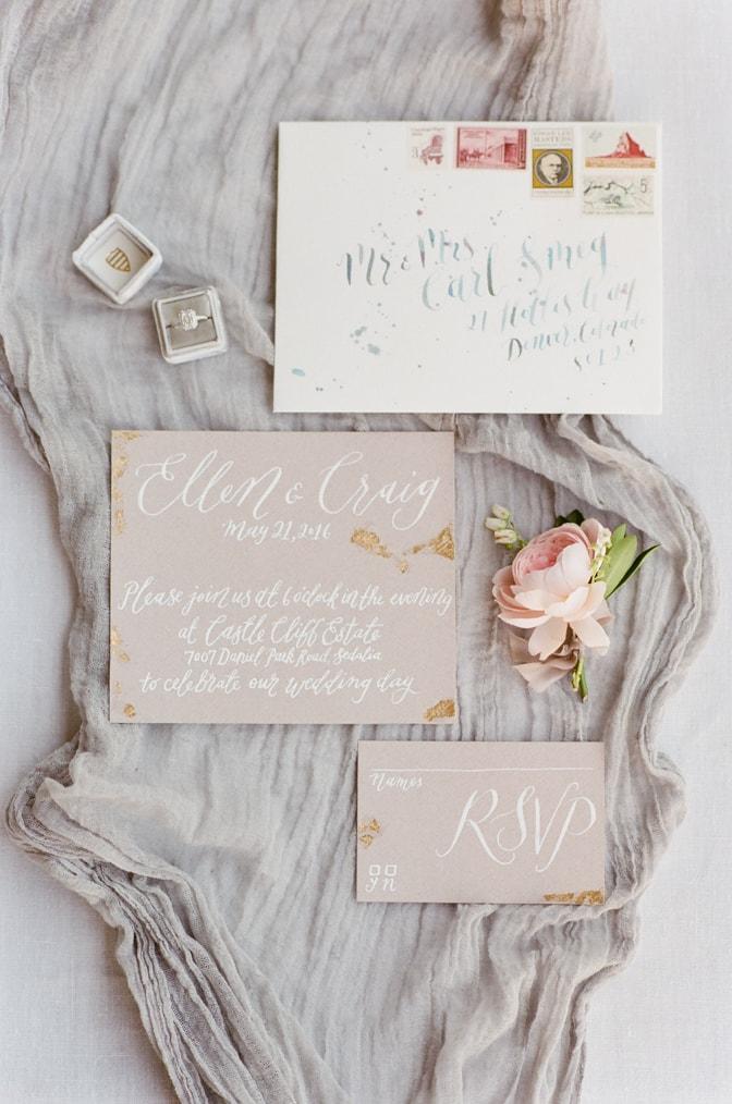 Nib and Pixel's luxury romantic wedding invitation
