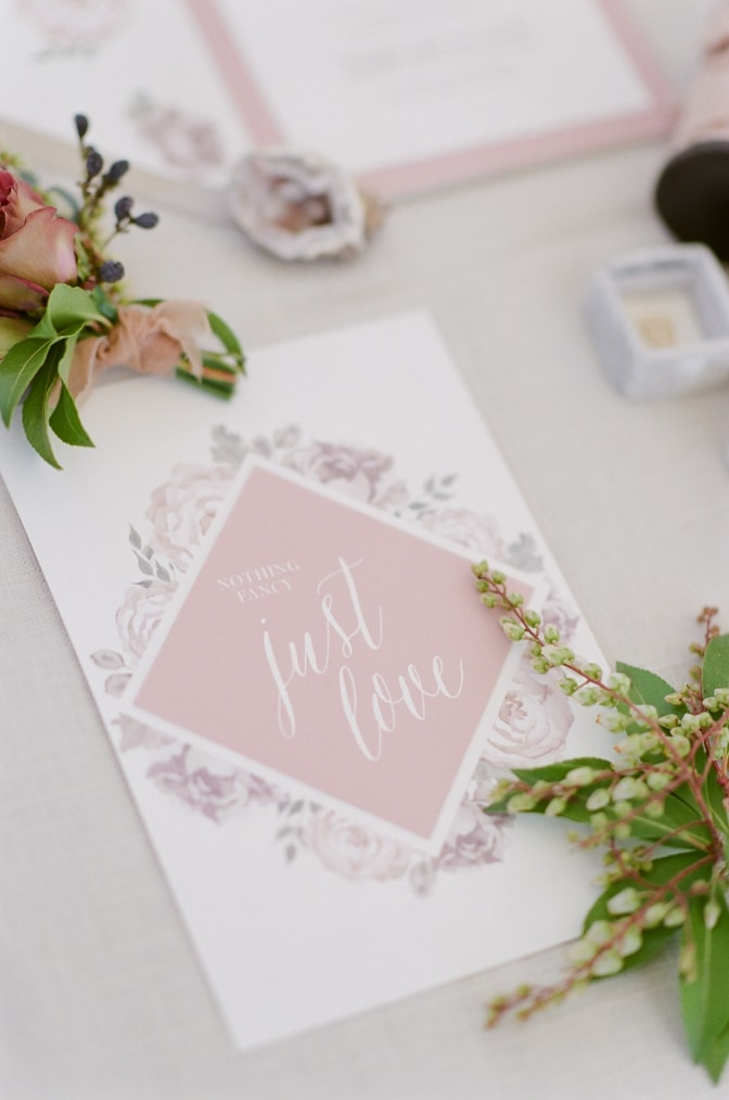 Closeup of luxury romantic wedding invitation