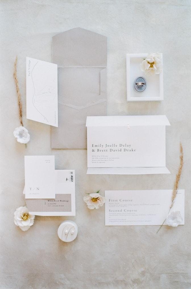 Modern luxury letterpress wedding invitation