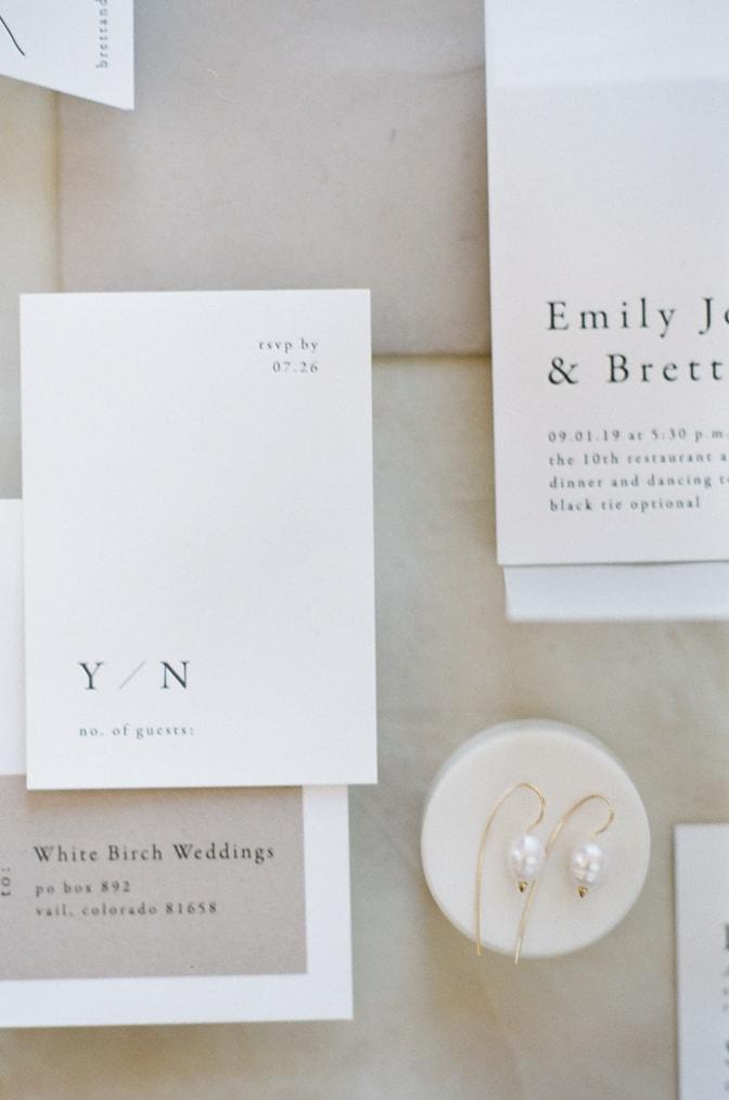 Closeup of modern luxury letterpress wedding invitation