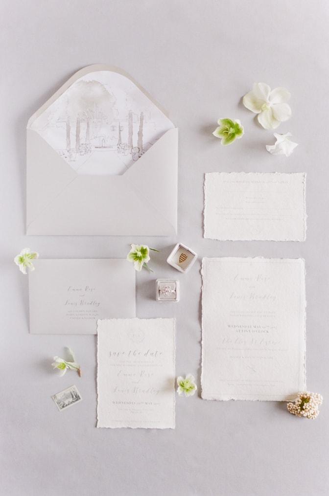 Luxury handmade wedding invitation in white
