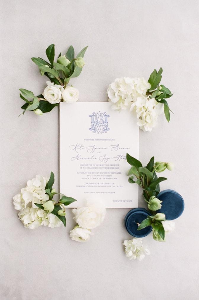Luxury classic letterpress wedding invitation