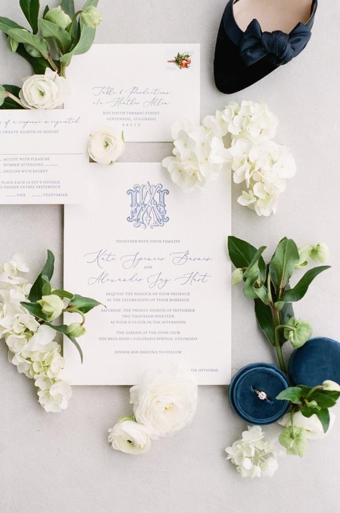 Closeup of Luxury classic letterpress wedding invitations