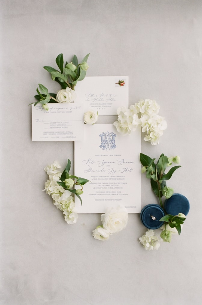Luxury classic letterpress wedding invitation in white and blue
