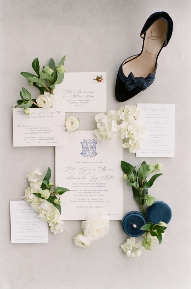 Luxury classic letterpress wedding invitation decorated with florals and Louboutin shoes