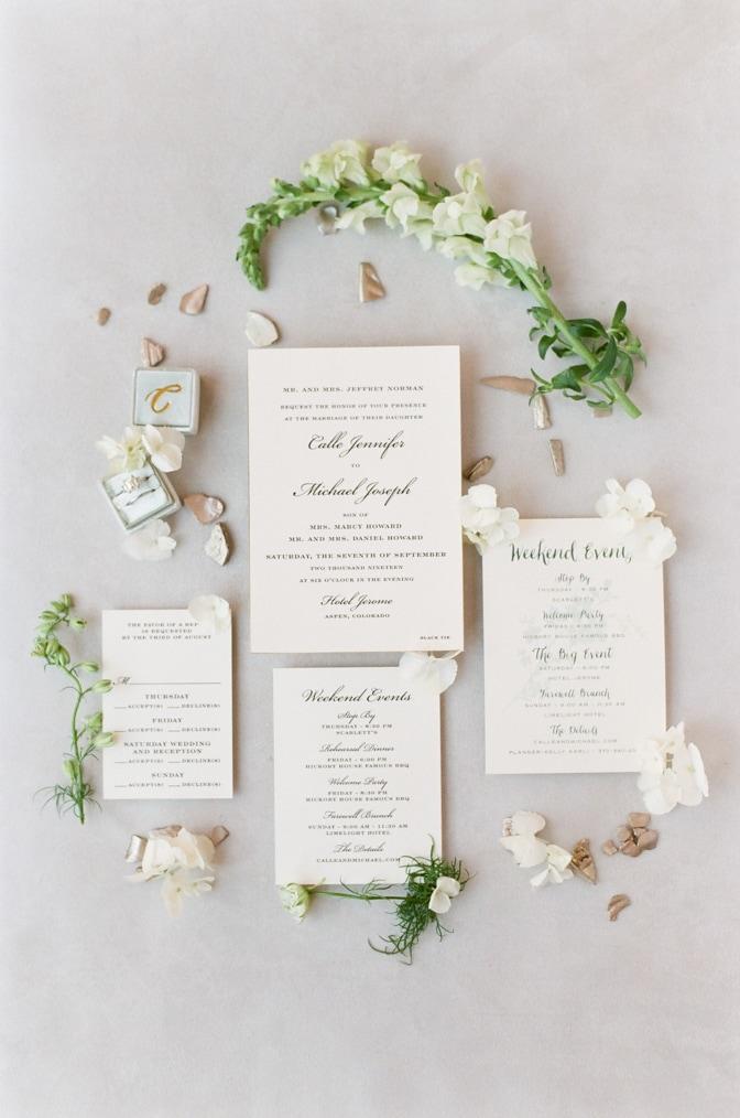 Luxury classic letterpress wedding invitation ideas