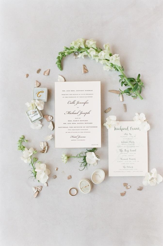 Closeup of Luxury classic letterpress wedding invitation