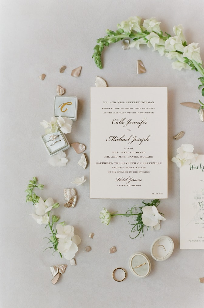 Closeup of Luxury classic letterpress wedding invitation decorated with flowers