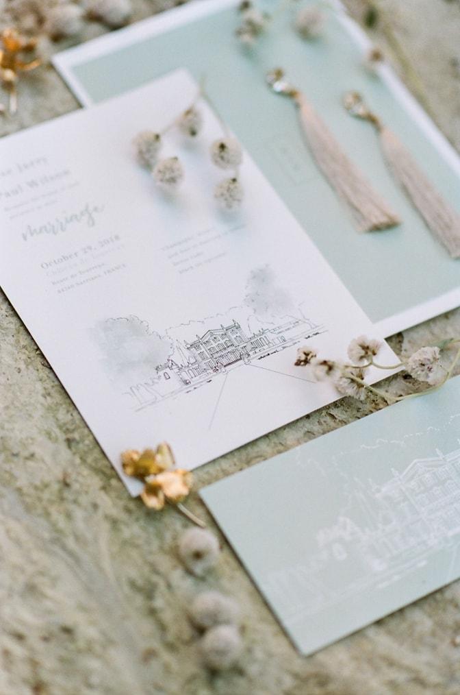Closeup of Modern luxury wedding invitation