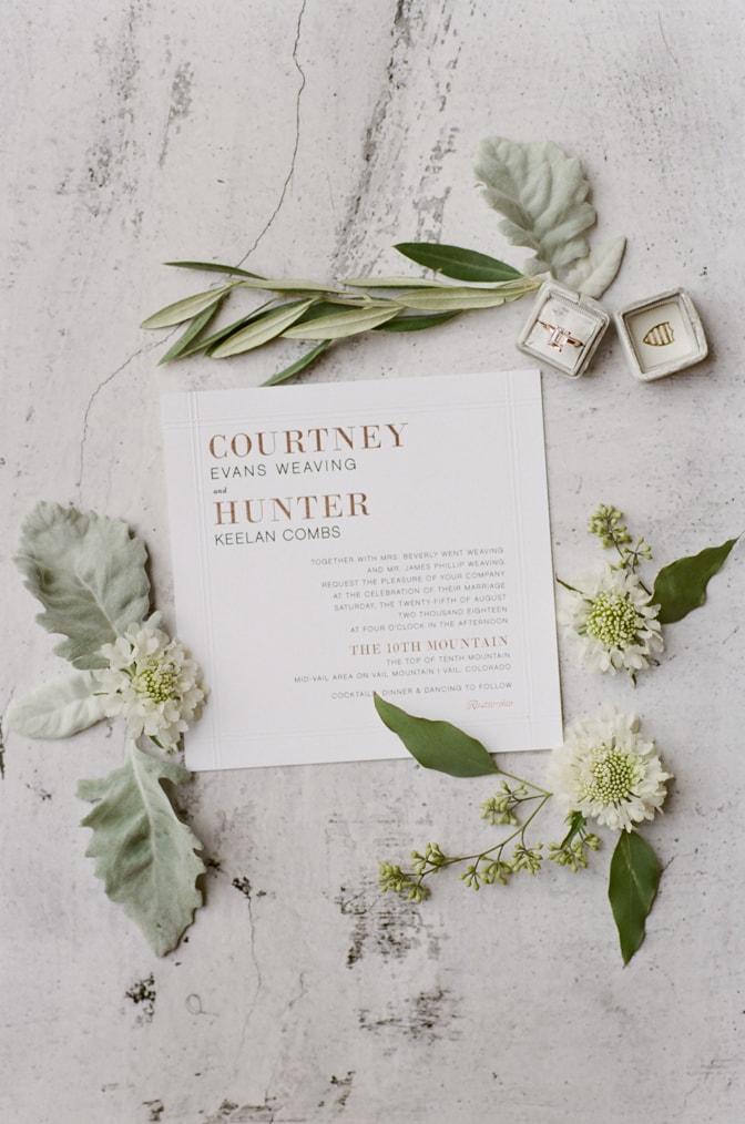 Closeup of Modern luxury wedding invitation with flowers