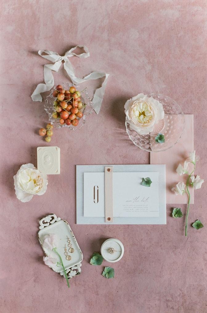 Luxury acrylic wedding invitation on red background