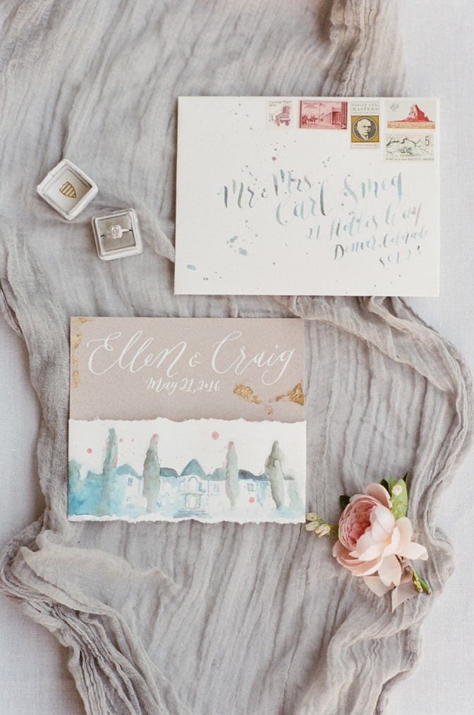 Flatlay of luxury romantic wedding invitation from Nib and Pixel