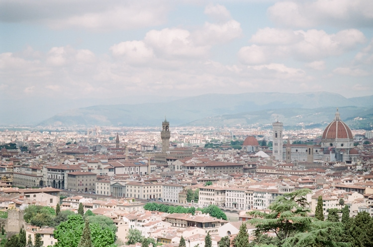 Image overlooking Florence in Italy with the Cathedral and Palazzo Vecchio in sight