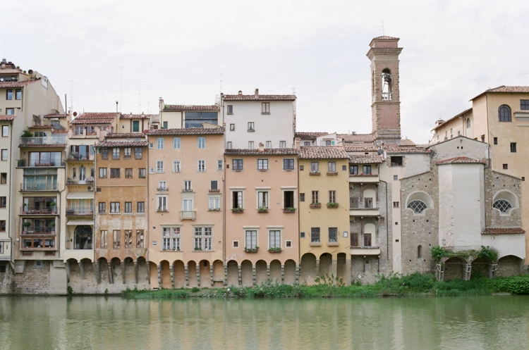 River Arno and its surrounding buildings close to Ponte Vecchio in Florence Italy