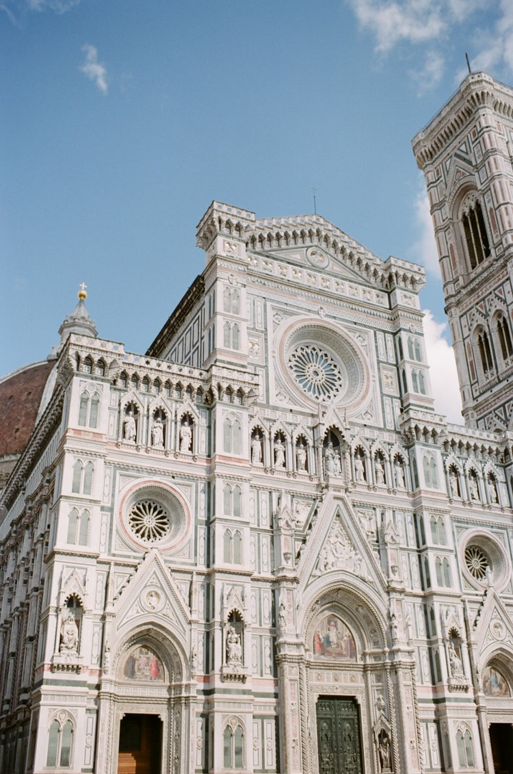 Front side of the Cathedral in Florence with its marble tiles