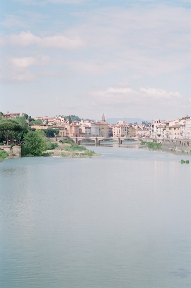 Bridge in Florence and the Florence city behind this bridge