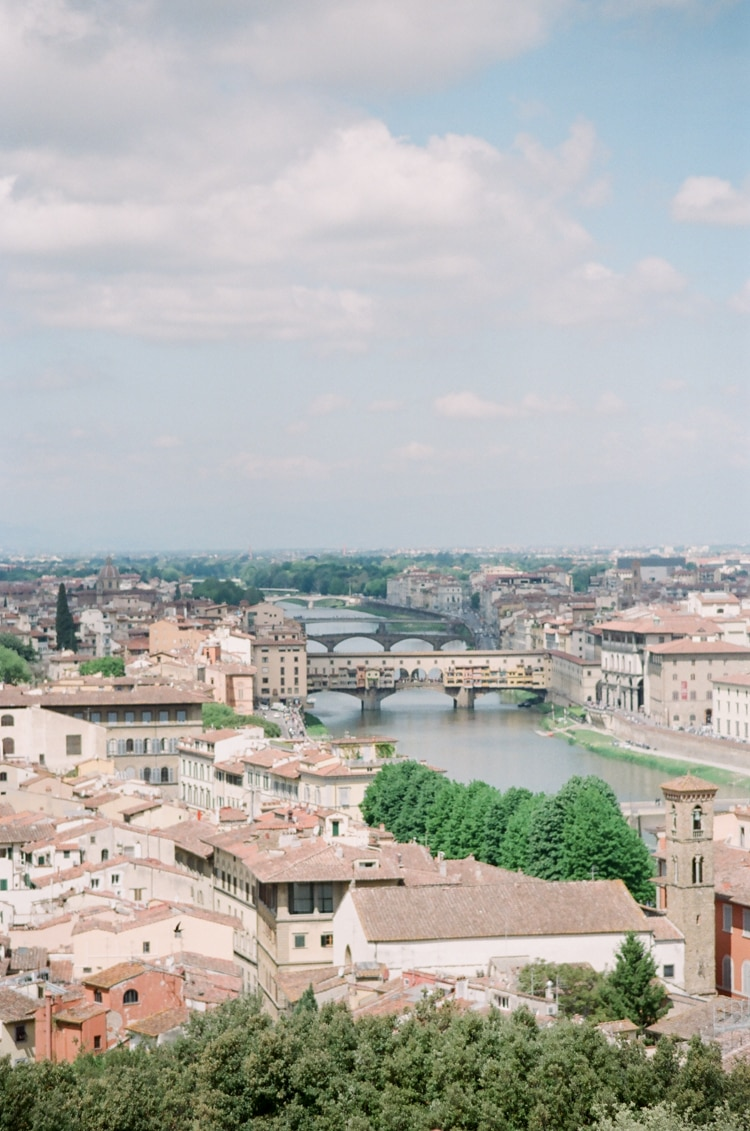 Aerial view of Florence depicting Ponte Vecchio in Italy