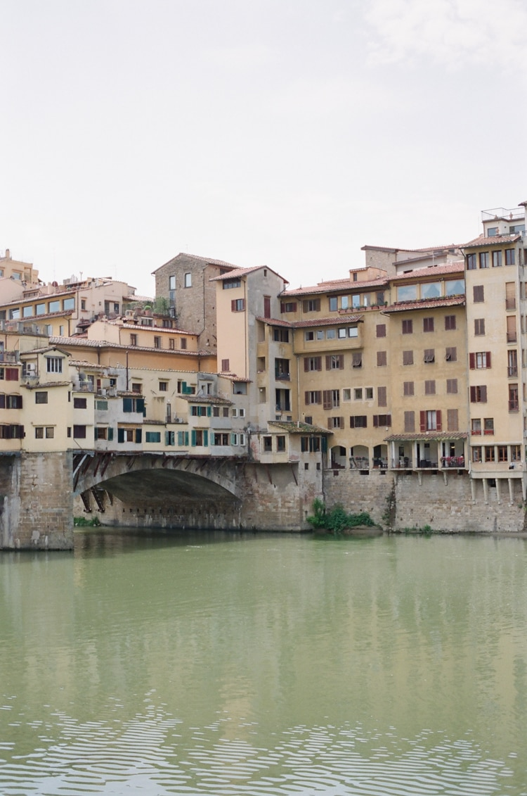 Ponte Vecchio and its surrounding buildings on the river Arno in Florence
