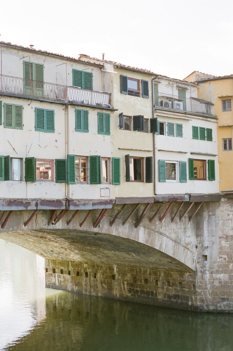 Closeup of the shops located on the Ponte Vecchio in Florence Italy