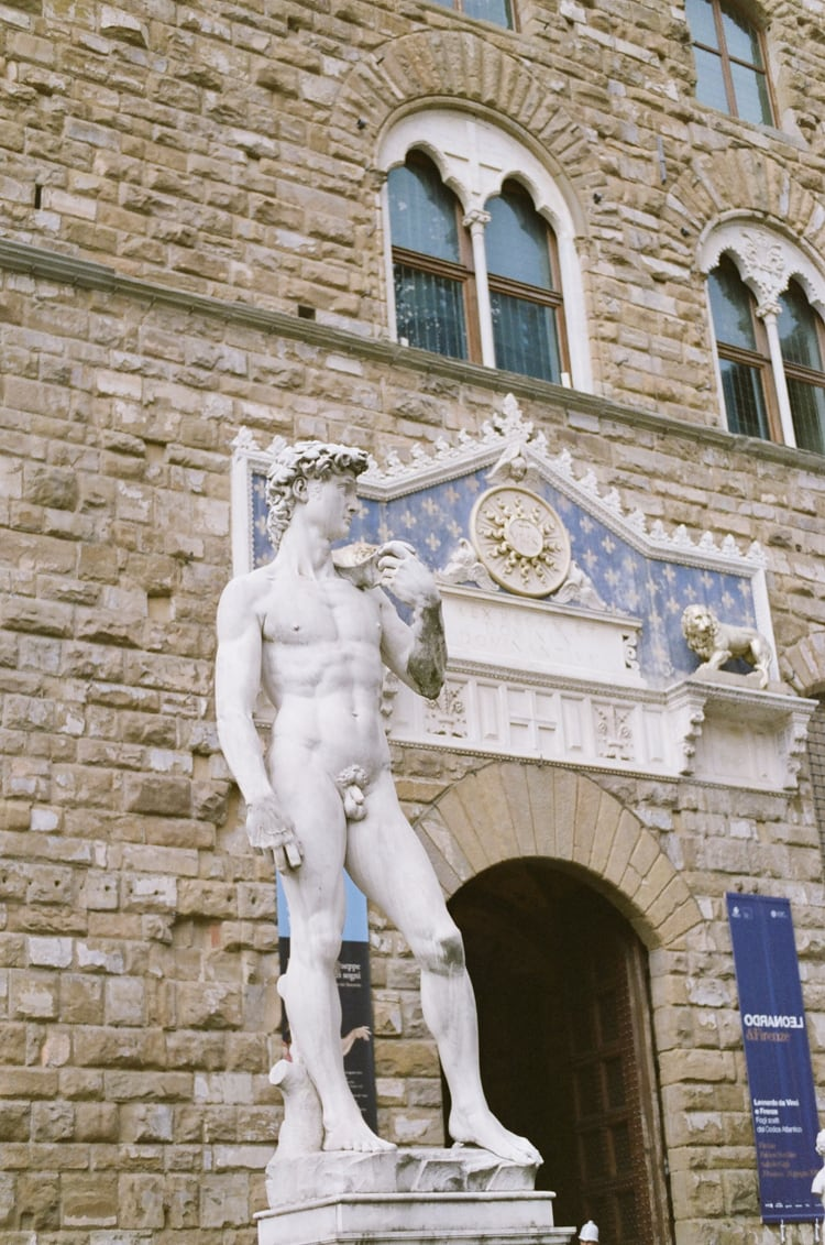 David statue in front of the Palazzo Vecchio in Florence Italy