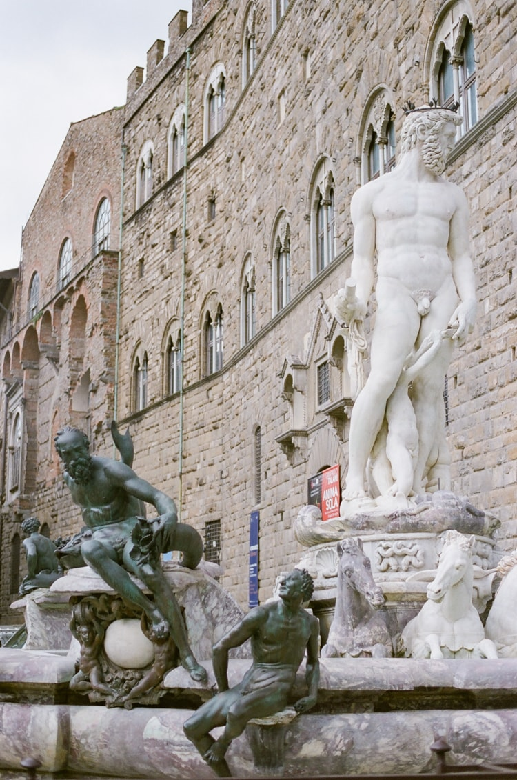 Fountain of Neptun in front of Palazzo Vecchio in Florence Italy