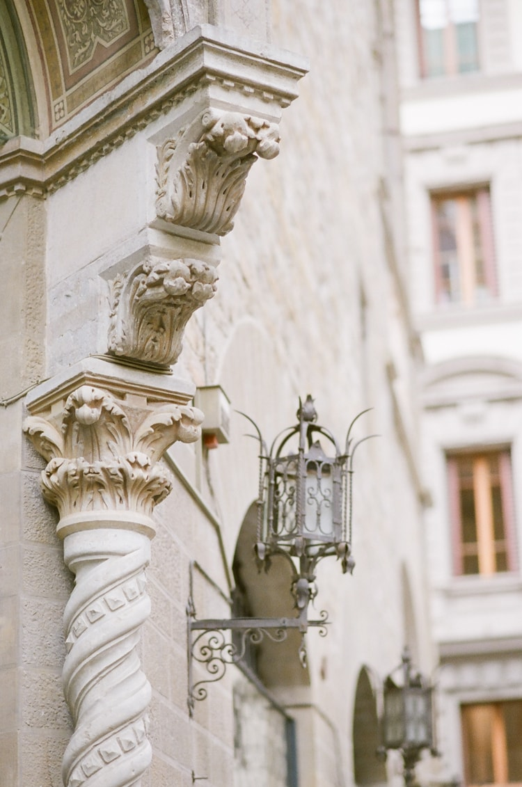 Detail of a column from a surrounding building of Palazzo Vecchio in Florence Italy