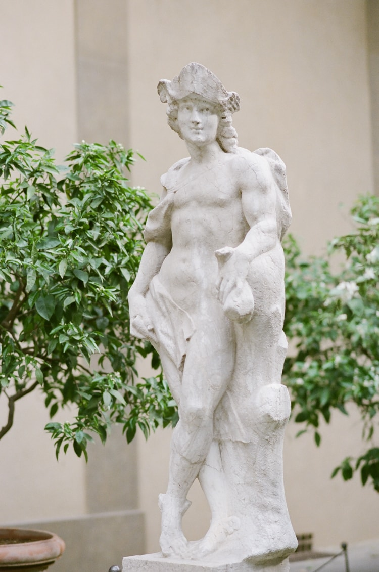 Statue in the garden of Palazzo Medici Riccardi in Florence Italy