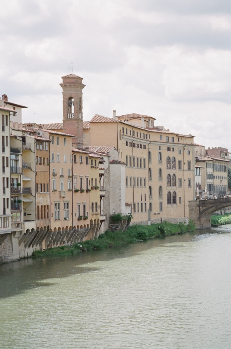 River Arno in Florence with its surrounding buildings close to Ponte Vecchio