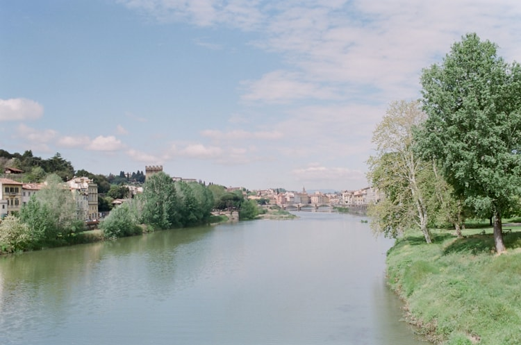 River Arno with the city of Florence in Italy