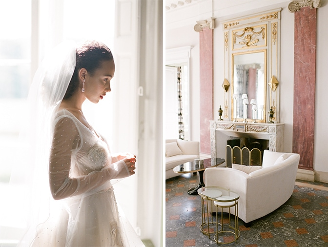 A black bride getting ready into her blush Inbal Dror wedding gown