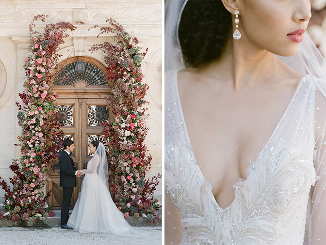 Closeup of a blush Inbal Dror wedding gown at Chateau Martinay in Provence