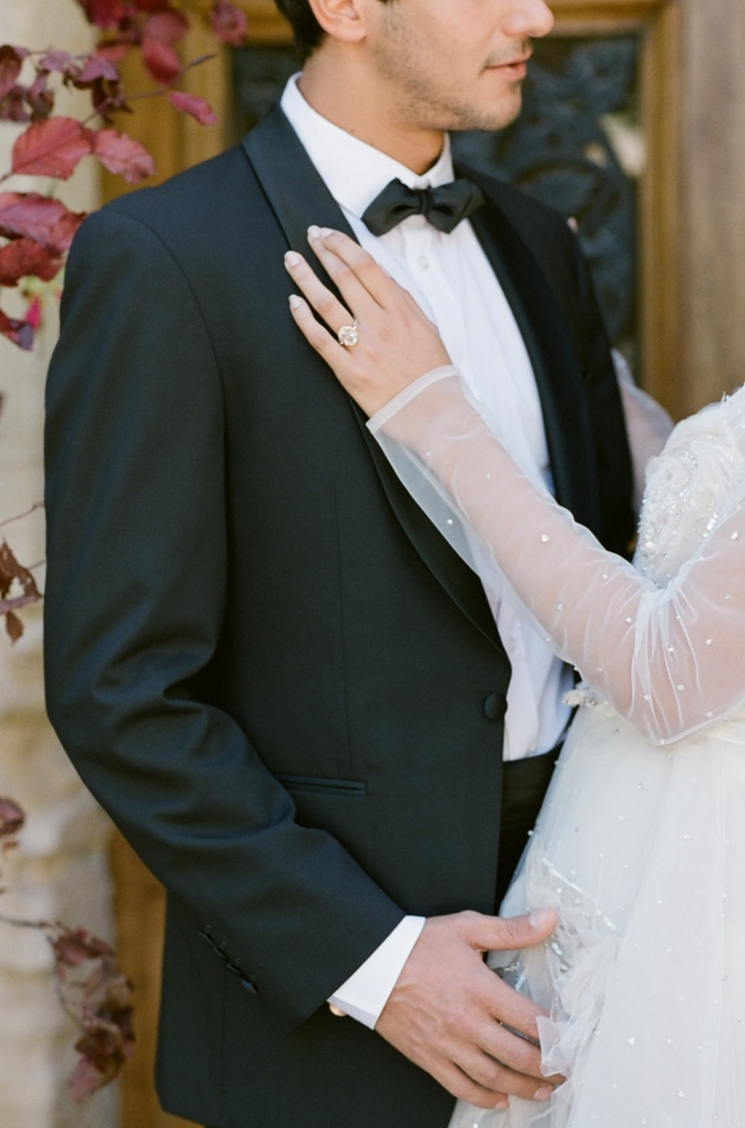Closeup of an engagement ring during a wedding ceremony at Chateau Martinay in Provence