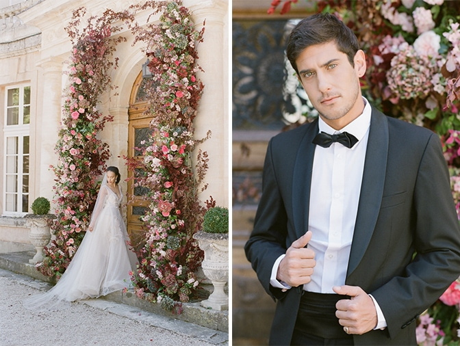 Groom in his black tux looking into camera at Chateau Martinay in Provence