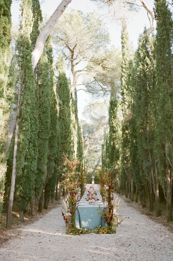 Wedding reception table set up at the cypress alley at Chateau Martinay in Provence