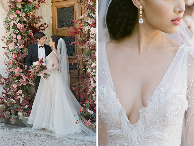 Closeup of a bride's lips and dress at Chateau Martinay in Provence