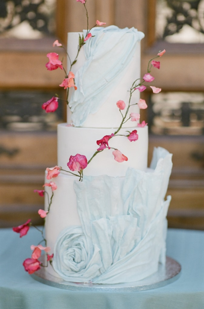 Blue and pink wedding cake at Chateau Martinay in Provence