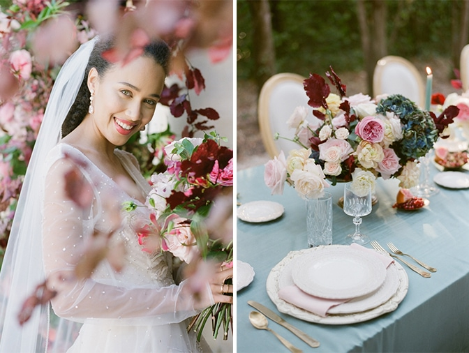 Closeup of bride and reception centerpiece at Chateau Martinay in Provence