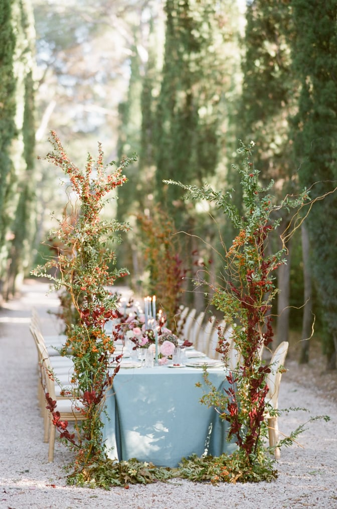 Reception table setup in the Cypress alley on the grounds of Chateau Martinay in Provence