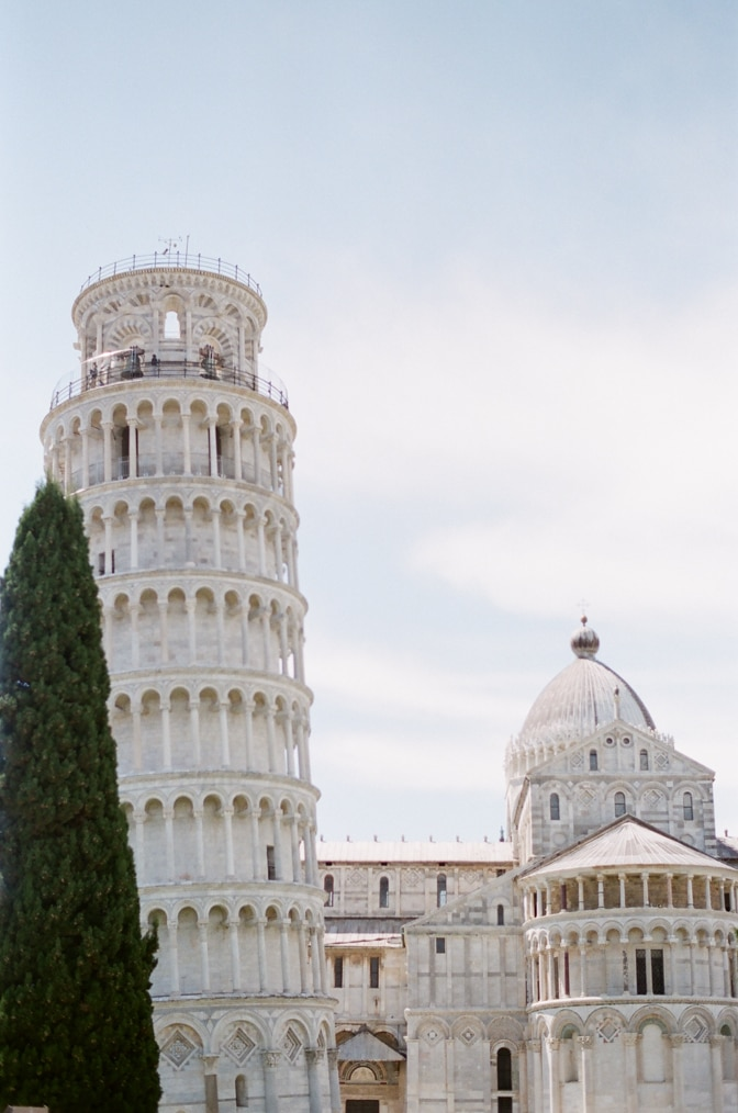 The Leaning Tower and the Baptistery in Pisa Italy