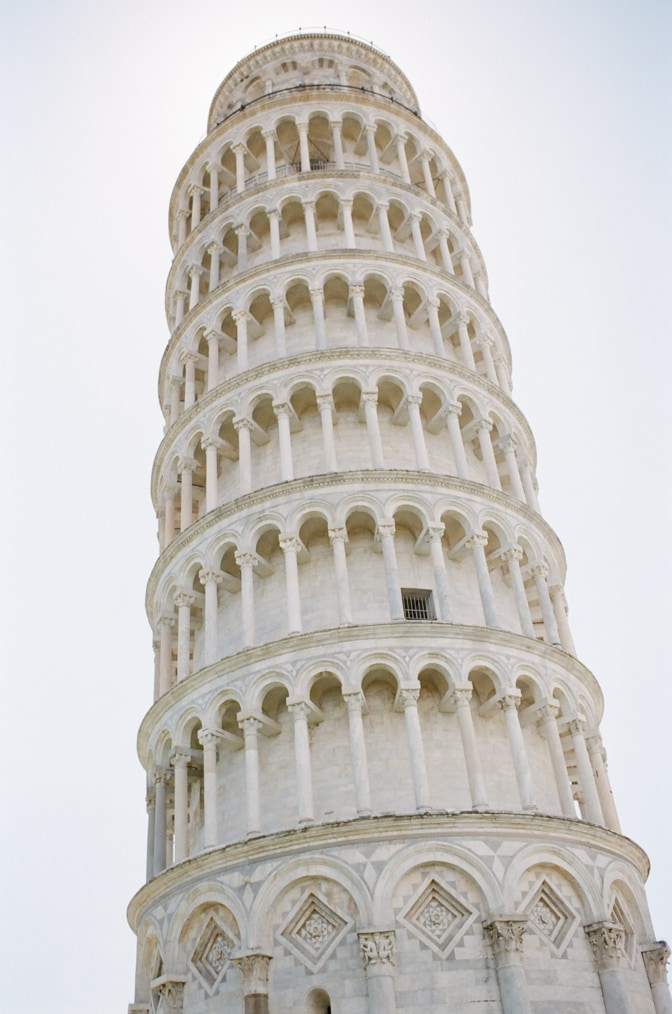 Closeup of the Leaning Tower in Pisa Italy