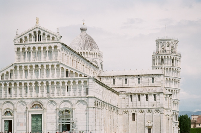 Square of Miracles in Italy with Leaning Tower, Cathedral, the Baptisery, the Belle and Monumantal Churchyard