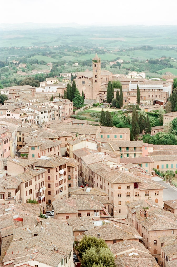 Brown-colored houses in Siena Italy