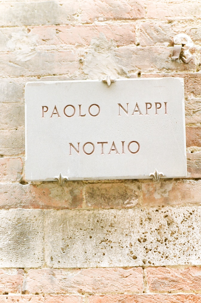 Closeup of a street sign in Siena Italy