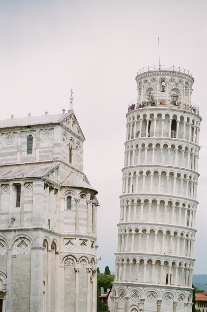 The Leaning Tower and the Cathedral in Pisa Italy