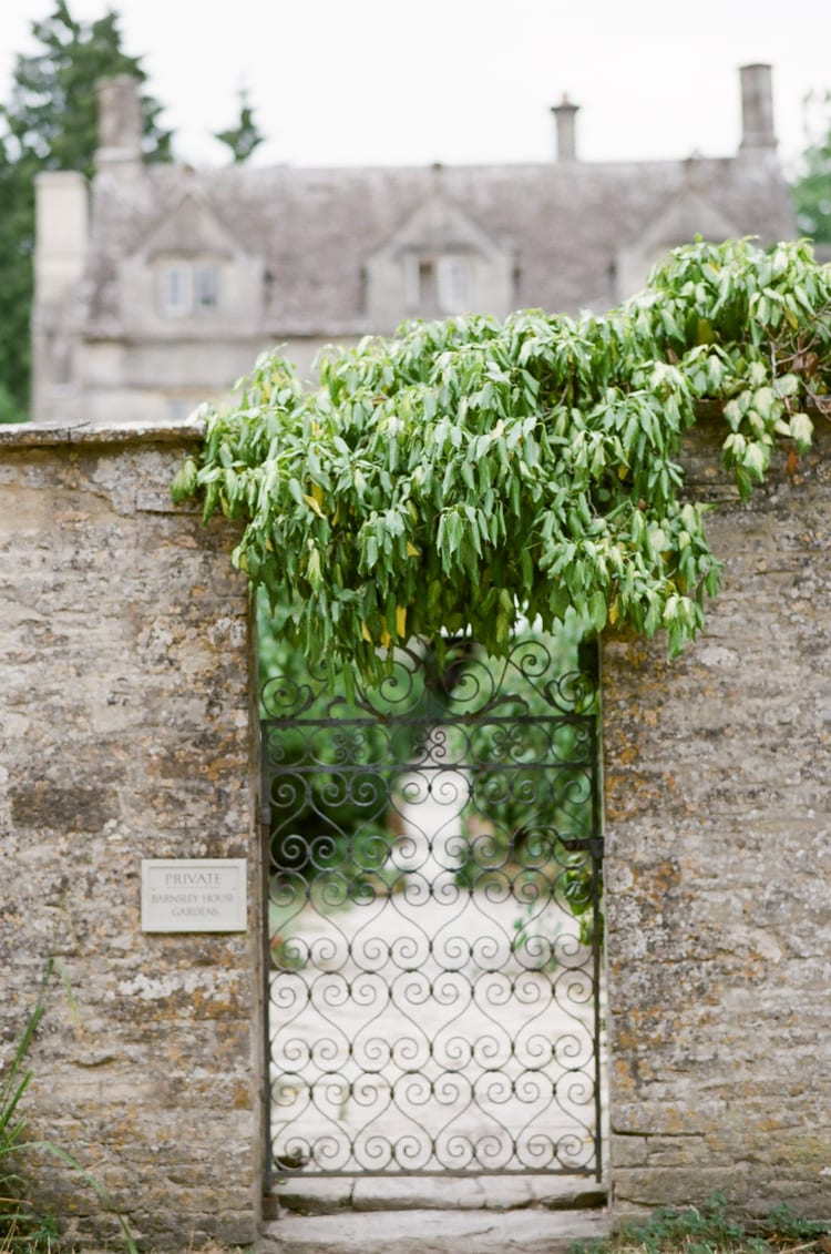 Garden gate at the Barnsley House in the Cotswolds in England