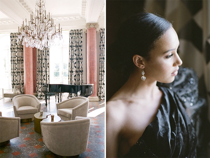 Black bride in her black Ziad Nakad couture gown looking outside the window at Chateau Martinay