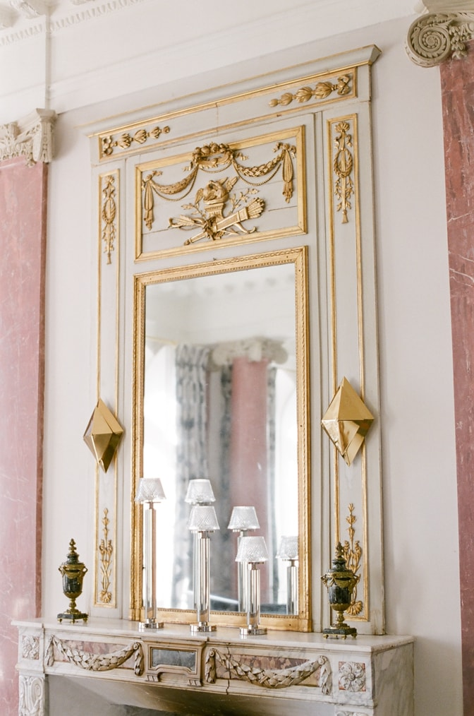 Wall mirror at Chateau Martinay in Provence France