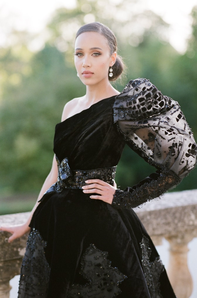 Black bride in her black Ziad Nakad wedding couture gown facing Tamara Gruner Photography